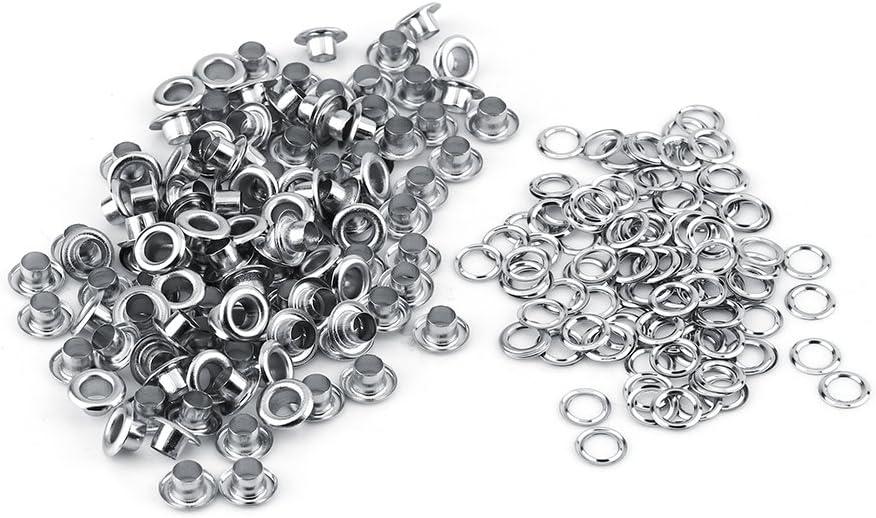 100 st/ücke 5mm Metall /Ösen Nieten /Ösen mit Unterlegscheiben f/ür Leder Handwerk Karte Dekoration Silber