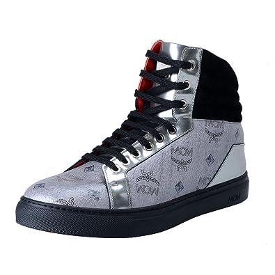 5fefb9fd710 MCM Visetos Women s Silver Hi Top Fashion Sneakers Shoes US 5 IT ...