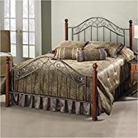 Hawthorne Collections King Metal Poster Spindle Bed in Smoke Silver