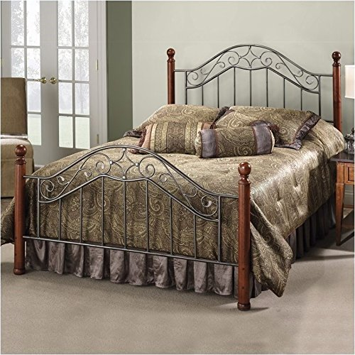 Hawthorne Collections Full Metal Poster Spindle Bed in Smoke Silver