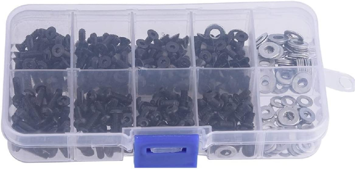 ShareGoo 340PCS Universal Screws Box Repair Accessories for HSP Redcat Traxxas Tamiya SCX10 HPI 1//10 RC Car,M3 Flat//Round Head Screws /& M3//M4 Flat Washer