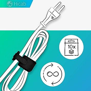 Cinta adhesiva con ojal para atar los cables 10x amarre de cable Hicab con cierre adhesivo de color Cinta adhesiva para atar cables Longitud: 17 cm cinta con cierre adhesivo para cables.