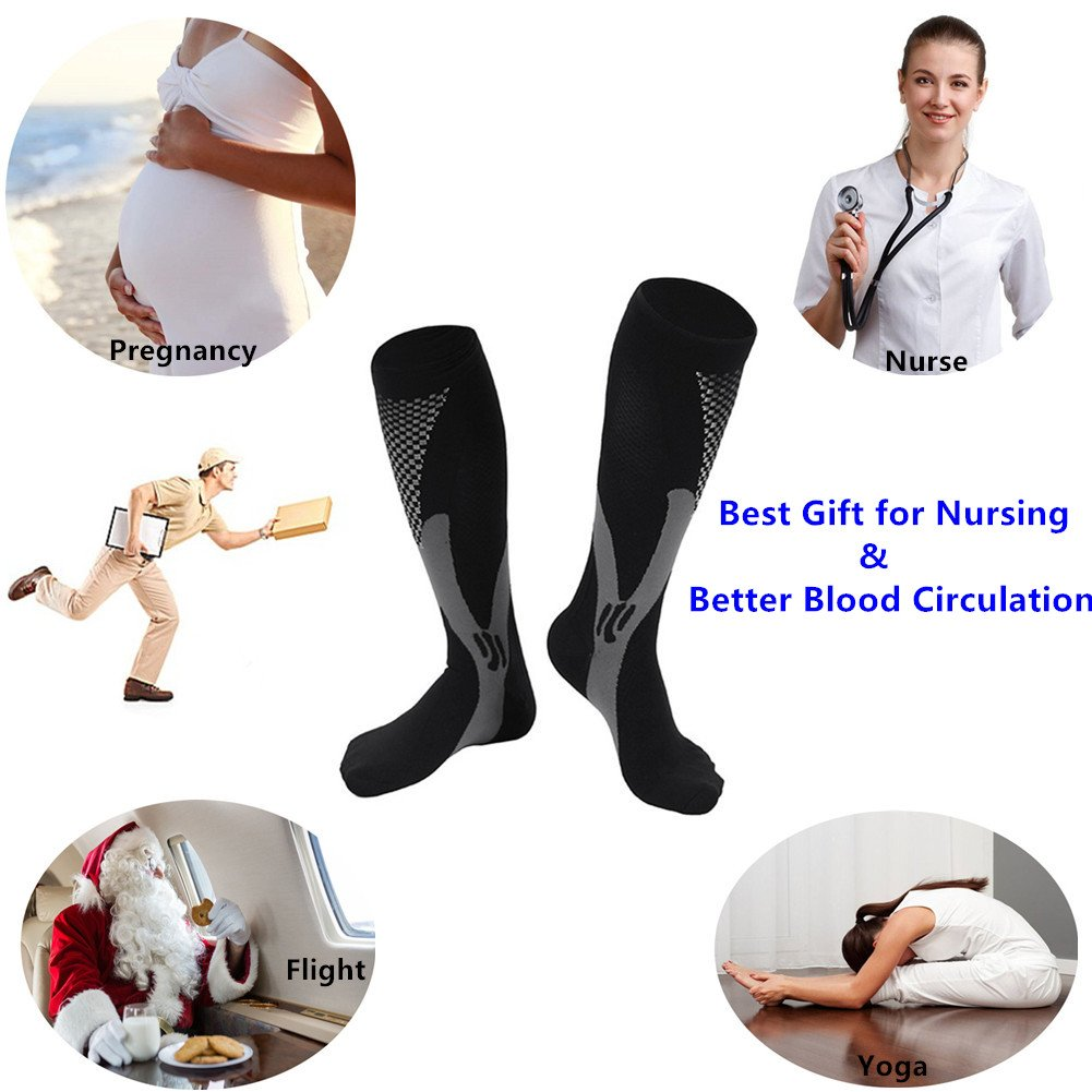 2/3Pairs Compression Socks, 20-30 mmhg Medical Sport Nursing Compression Socks for Men Women Marathon Maternity Pregnancy Flight Shin Splints Edema Varicose Veins(Men8-14in Women8-15in)