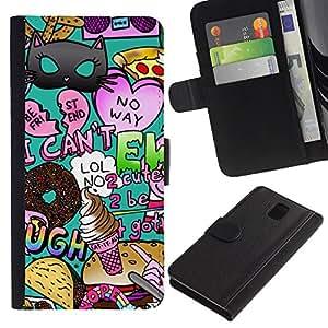 KingStore / Leather Etui en cuir / Samsung Galaxy Note 3 III / Aléatoire Teal Heart moderne