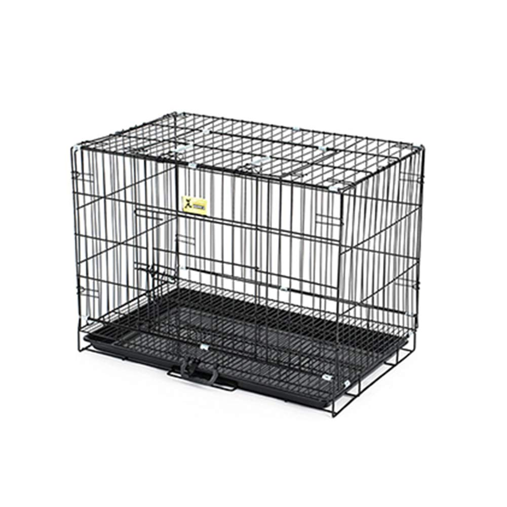 Black 764756cm Black 764756cm XCLLL Pet Fence Small Medium Dog Dog Cage Suitable For Indoor, Folding Cage With Toilet Durable Stable,Black,76  47  56cm