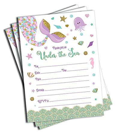 Mermaid Invitations And Envelopes Large Size 5x7