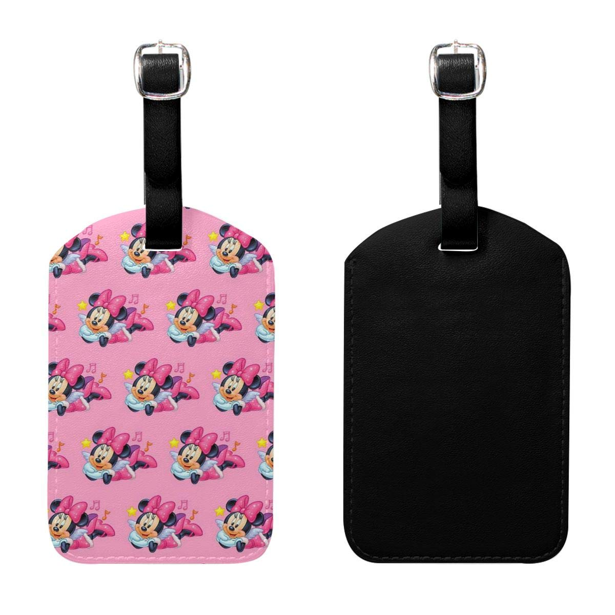 PU Leather Luggage Tags Minnie with Star Suitcase Labels Bag Adjustable Leather Strap Travel Accessories Set of 2