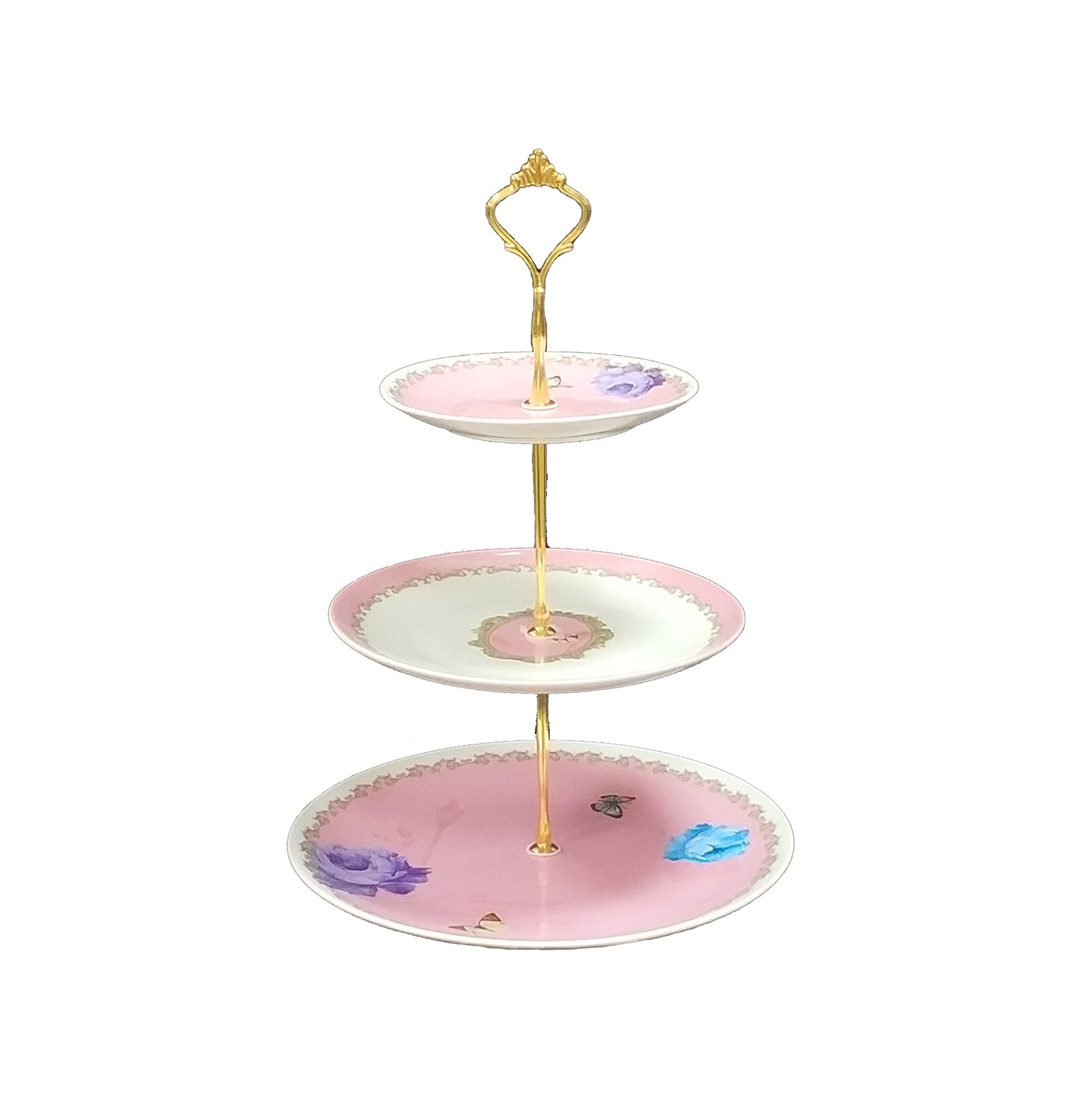 KingDao 3 tier Ceramic Cake Plate Stand Porcelain Plates Vintage Rose Pastel Pink Royal Vintage Dessert Cupcake Display Dessert Fruite Tray Stand Food Display Tea Party Pastry Serving Platter (Pink)