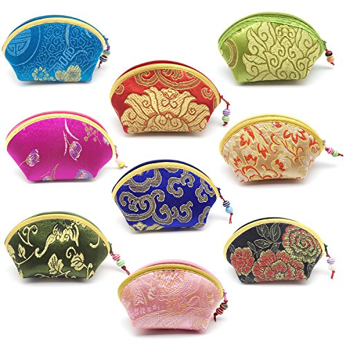 Elesa Miracle 9pcs Silk Embroidered Brocade Jewelry Pouch Bag, Zipper Coin Purse, Gift Bag Value Set