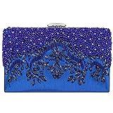 Bagood Women's Handmade Beaded Embroidery Crystal Evening Bag Party Handbag Shoulder Clutch Purse Royal blue