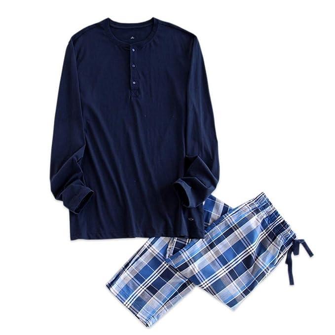 Meaeo Pijamas Simples Hombres Pijama Otoño Algodón Conjunto Hombres Top + Pantalones De Manga Larga Traje De Noche Sexy Ropa De Noche: Amazon.es: Ropa y ...