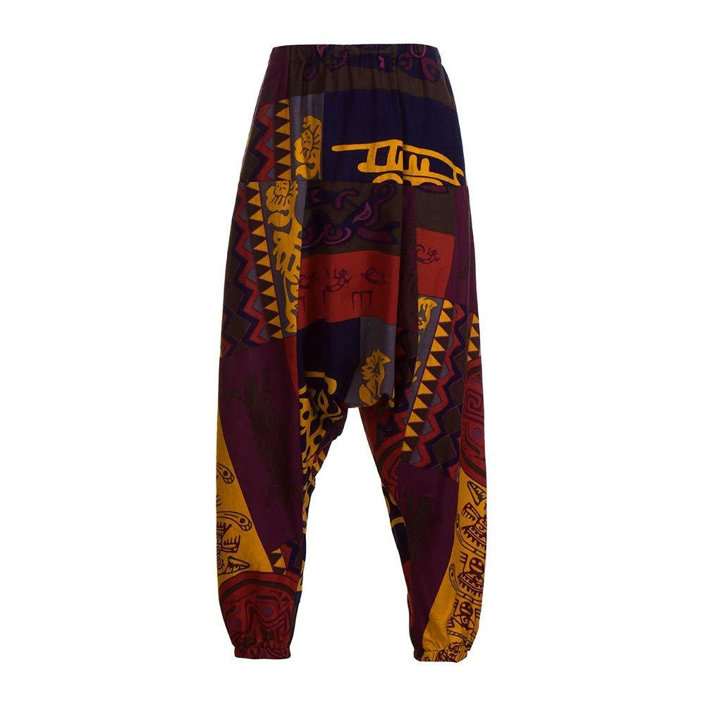 Shybuy Pants Mens Boys Harem Pants Cotton Linen Festival Baggy Boho Trousers Retro Gypsy Pants