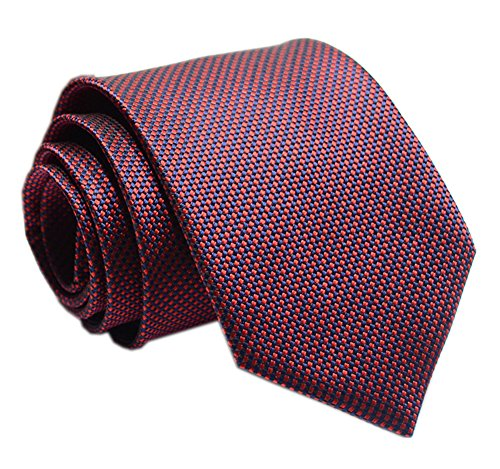 (Mens Burgundy Red Navy Small Gingham Silk Tie Regular Soft Business Boys)