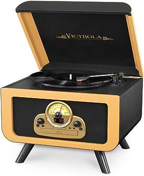 Amazon.com: Victrola mesa Record Player con Bluetooth y CD ...