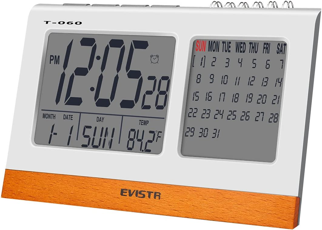 EVISTR Digital Clock Large Display – Desk Clock Battery Operated Alarm Clock with Calendar, Date, Temperature for Office