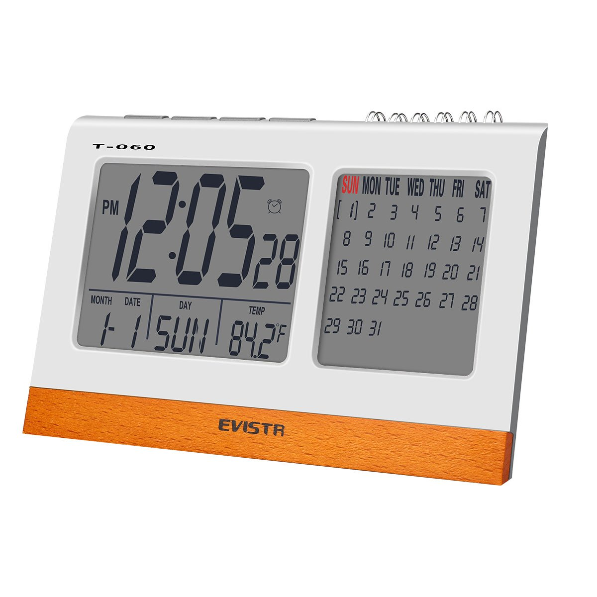 EVISTR Digital Clock Large Display - Desk Clock Battery Operated Alarm Clock with Calendar, Date, Temperature for Office