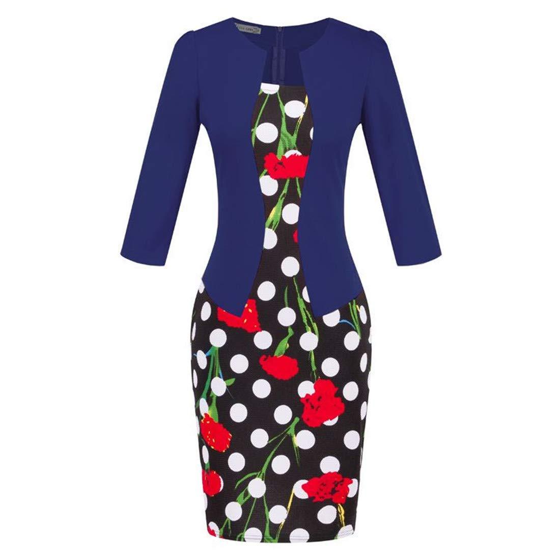 DUHUD Women's Vintage 3/4 Sleeve Pencil Business Work Dress