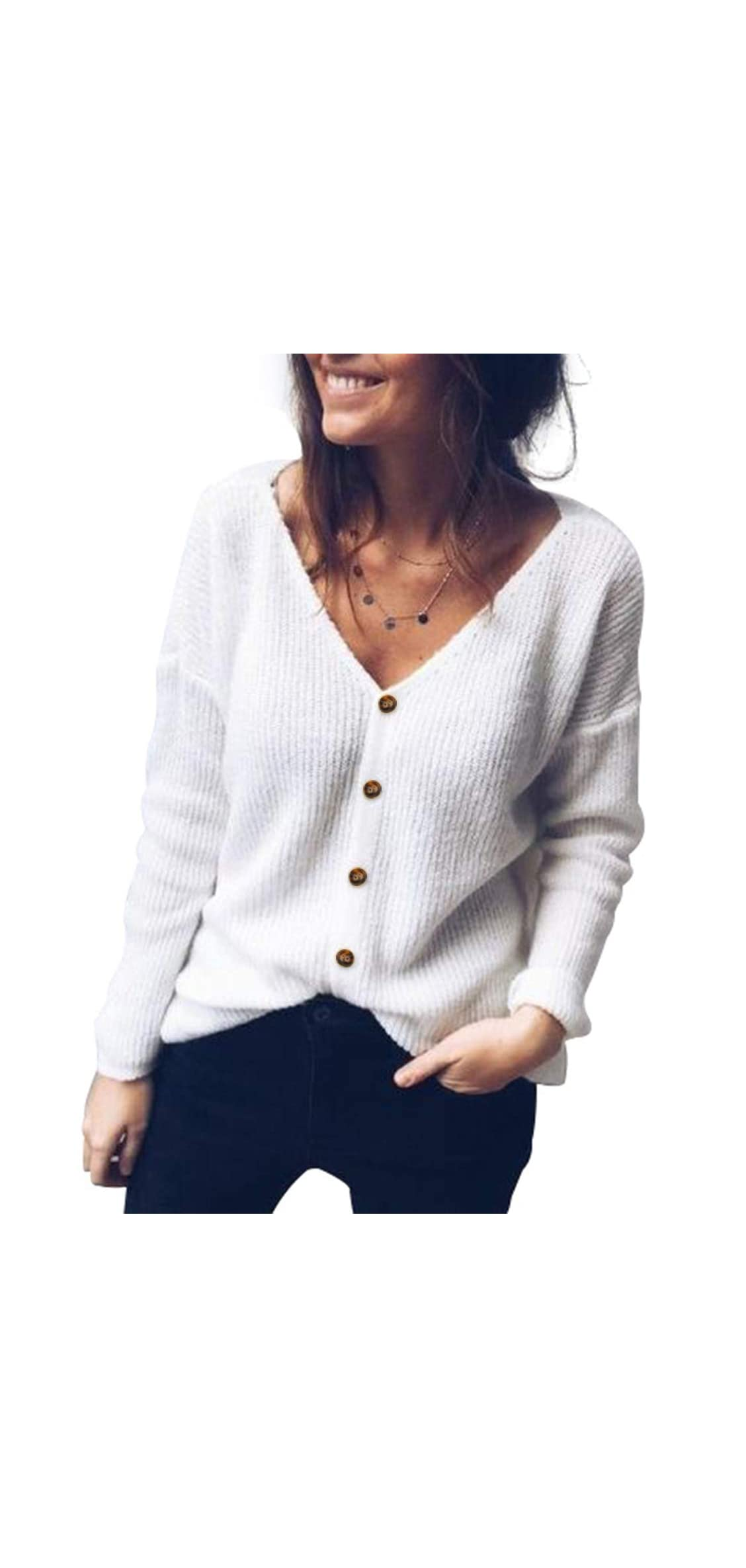 Womens Button Down V-neck Cardigan Sweater Long Sleeve