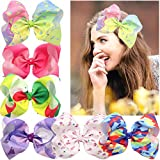Unicorn BIG 8 Inches Hair Bows For Girls Glitter Rhinestones Cheer Bows Alligator Clips For Baby Girls,Toddlers,Teens Set of 6