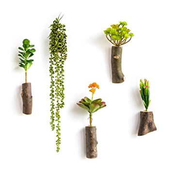 WOOD MEETS COLOR Handmade Hanging Vases, Wall Vases Arrangement, Vertical  Planters, With Artificial