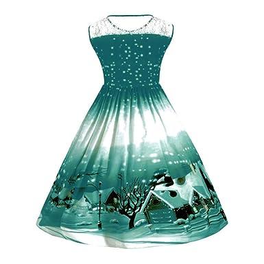 Damen Weihnachten Kleid, TWIFER Drucken Spitze Pin Up Swing Spitze ...
