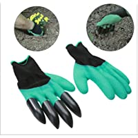 MosQuick® -1 Pair Rubber Garden Gloves for Digging, Planting, Garden Work with 4 ABS Plastic Claws Green & Black Color