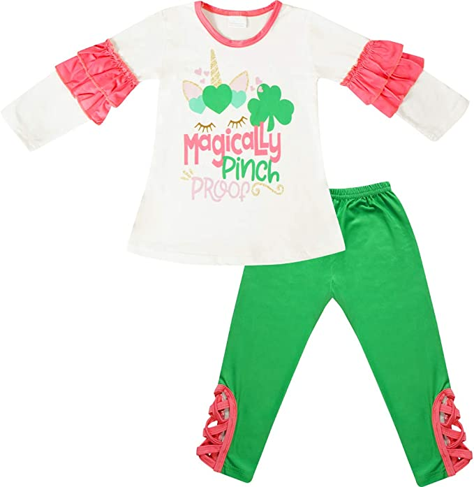 Toddler Girls St Patrick/'s Day Shamrock Glitter Queen Bell Bottom Set Leggings Holiday Outfit by So Sydney 12 18 Months 2T 3T 4T 5 6 7 8