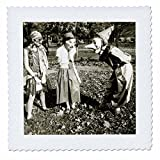 3dRose Scenes from the Past Ephemera - Vintage Halloween Trick or Treaters Early 1900s Photograph Ghouls - 18x18 inch quilt square (qs_269798_7)