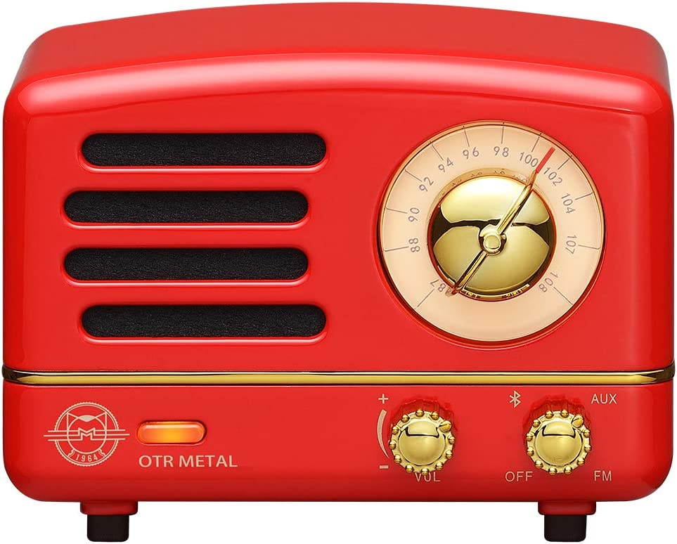 Retro Bluetooth Speaker, MUZEN OTR Vintage Wireless FM Radio with Loud Volume, Portable Bluetooth Speaker,Gift for Family Friend Birthday Holiday Outdoor Home Décor Camping Car - Crimson Red: Home Audio & Theater