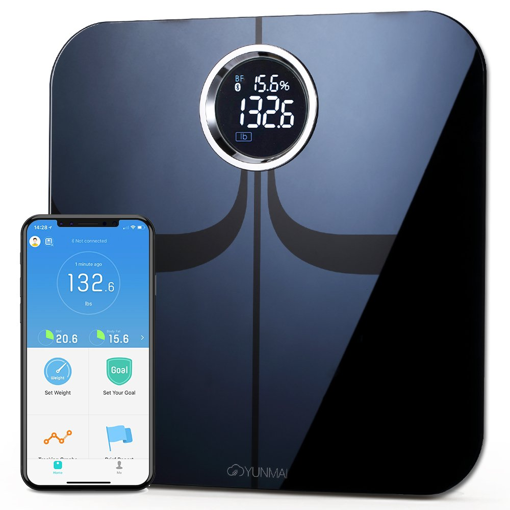 YUNMAI Premium Smart Scale - Body Fat Scale with New Free APP & Body Composition Monitor with Extra Large Display - Works with iPhone. by YUNMAI