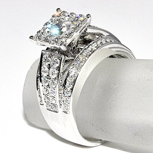 Amazon.com: 1.75cttw Diamond Wedding Ring 3 in 1 Round Diamond Top ...