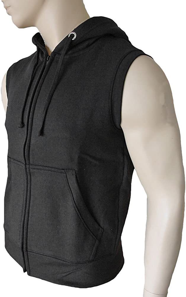 ROCK-IT Apparel/® Man Heavy Zipped Sleeveless flleeced Hoodie Mens Pullover Sweater Jacket whithout Sleeve Sizes S-5XL Color Black Green Gray red Camouflage