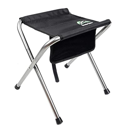 BERSERKER OUTDOOR Folding Camping Stool Portable Camping Seat with Mesh Bag Aluminum Frame Lightweight Backpacking Slacker Chair with Carry Bag for Fishing Hiking Traveling Support 220LBS (Black) : Sports & Outdoors