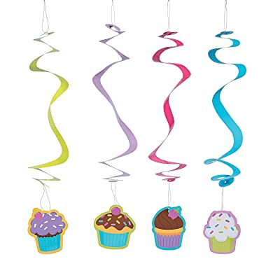 CUPCAKE PARTY HANGING SWIRLS - Party Decor - 12 Pieces: Toys & Games