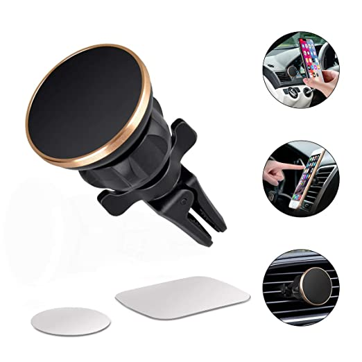 Magnetic Car Mount,360° Rotation Universal Air Vent Magnetic Mount,Magnetic Cell Phone Car Mounts Holder Magnet Compatible iPhone 8, X, 7, 7P, 6S, 6P, 5S, Samsung Galaxy S5, S6, S7, S8,S9 Plus LG