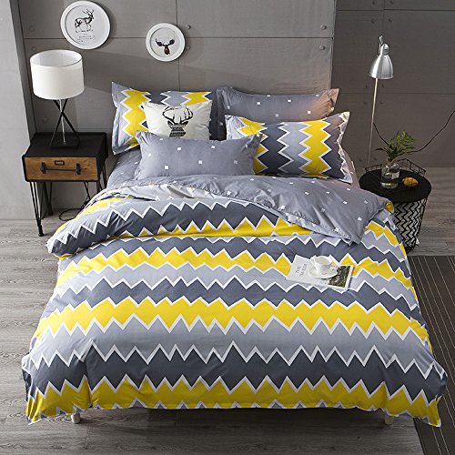 Nattey Simple Style Bed Pillowcase Duvet Cover Quilt Cover Set Twin Queen King Size Gray Yellow Color (Twin)