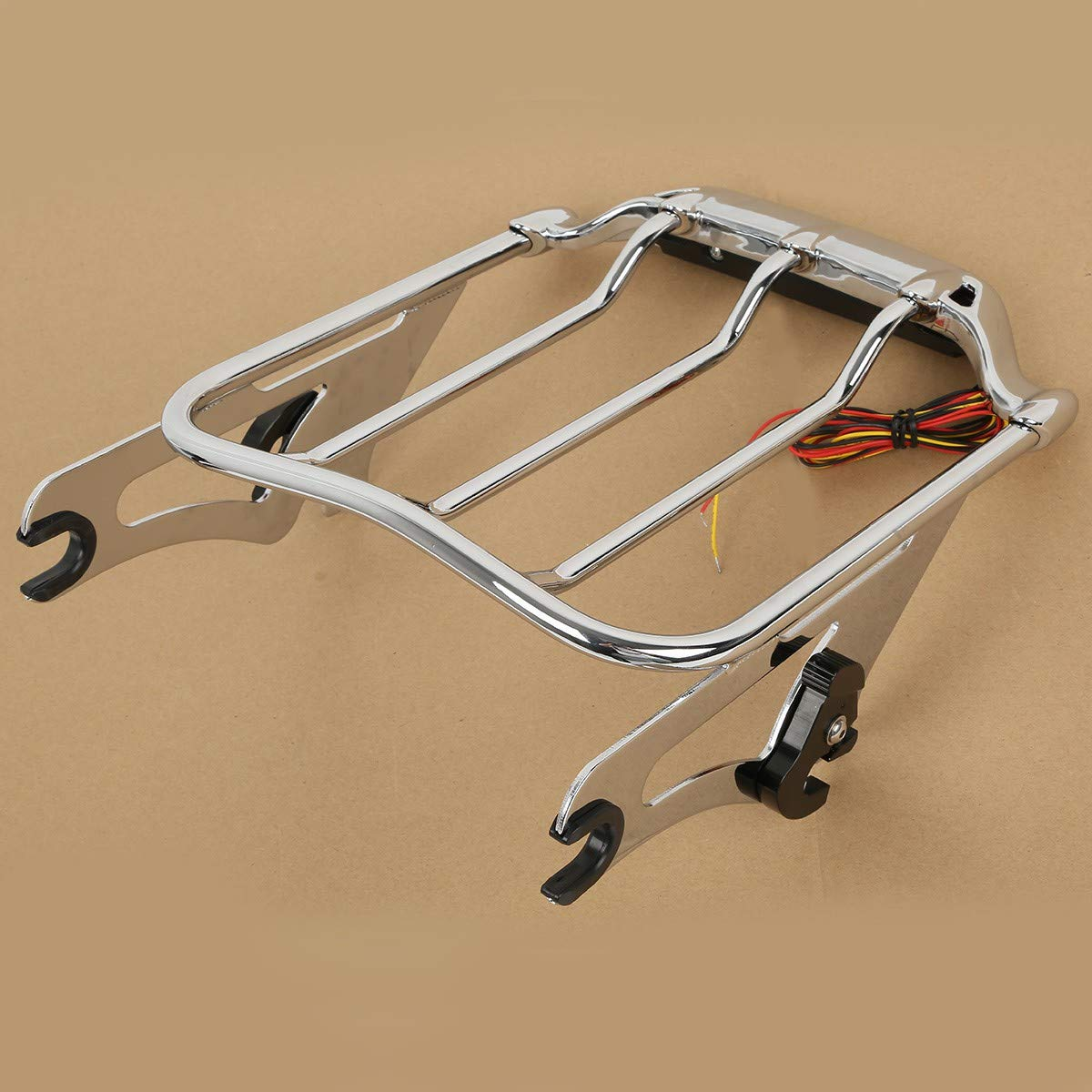 TCMT Chrome 2-UP Air Wing Motorcycles Luggage Rack Mounting Fits For w//Light Fits For Harley Street Road Glide FLTR FLHX 2009-2018