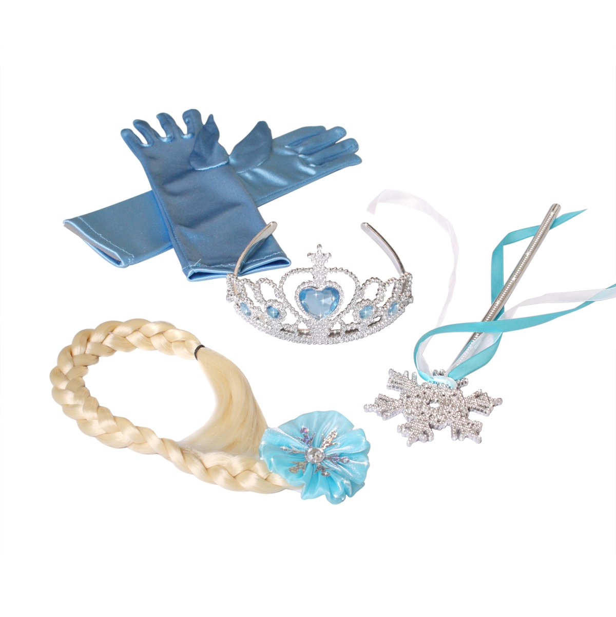 Frozen Elsa Princess Tiara Snowflake Wand Braid Hair Piece and Blue Gloves Set Heart To Heart