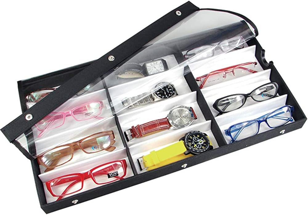 Ikee Design Small Medium 12 Compartment Eyewear Shades Case for Eyeglasses, Sunglasses, Watches, Jewelry with Vinyl Clear Top Lid, 19 w x 10 D x 1 1 2 H
