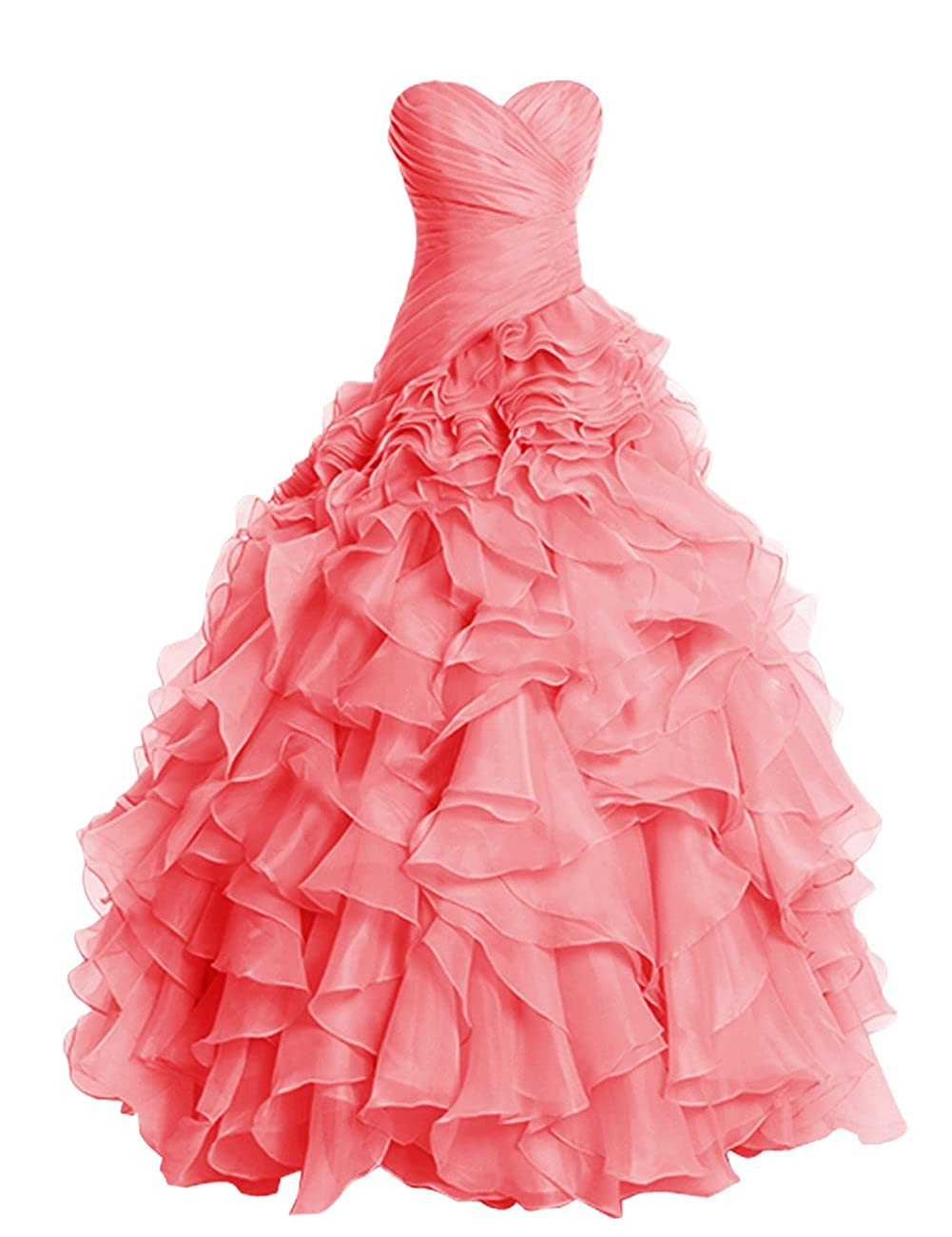 Coral Dresstells® Long Prom Dress Fluffy Bridesmaid Dress Wedding Dress with Ruffles