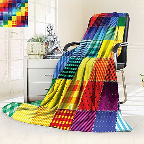 YOYI-HOME Digital Printing Duplex Printed Blanket Farmhouse Decor Rainbow Colored Square Shaped Diverse Patterns with Diagonal Forms Multi Summer Quilt Comforter /W47 x H79