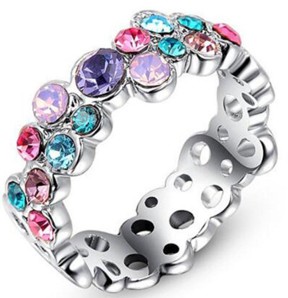 TEMEGO Multi Color CZ Eternity Ring,Simulated Gemstone Wedding Band Platinum Plated Silver,Size 8