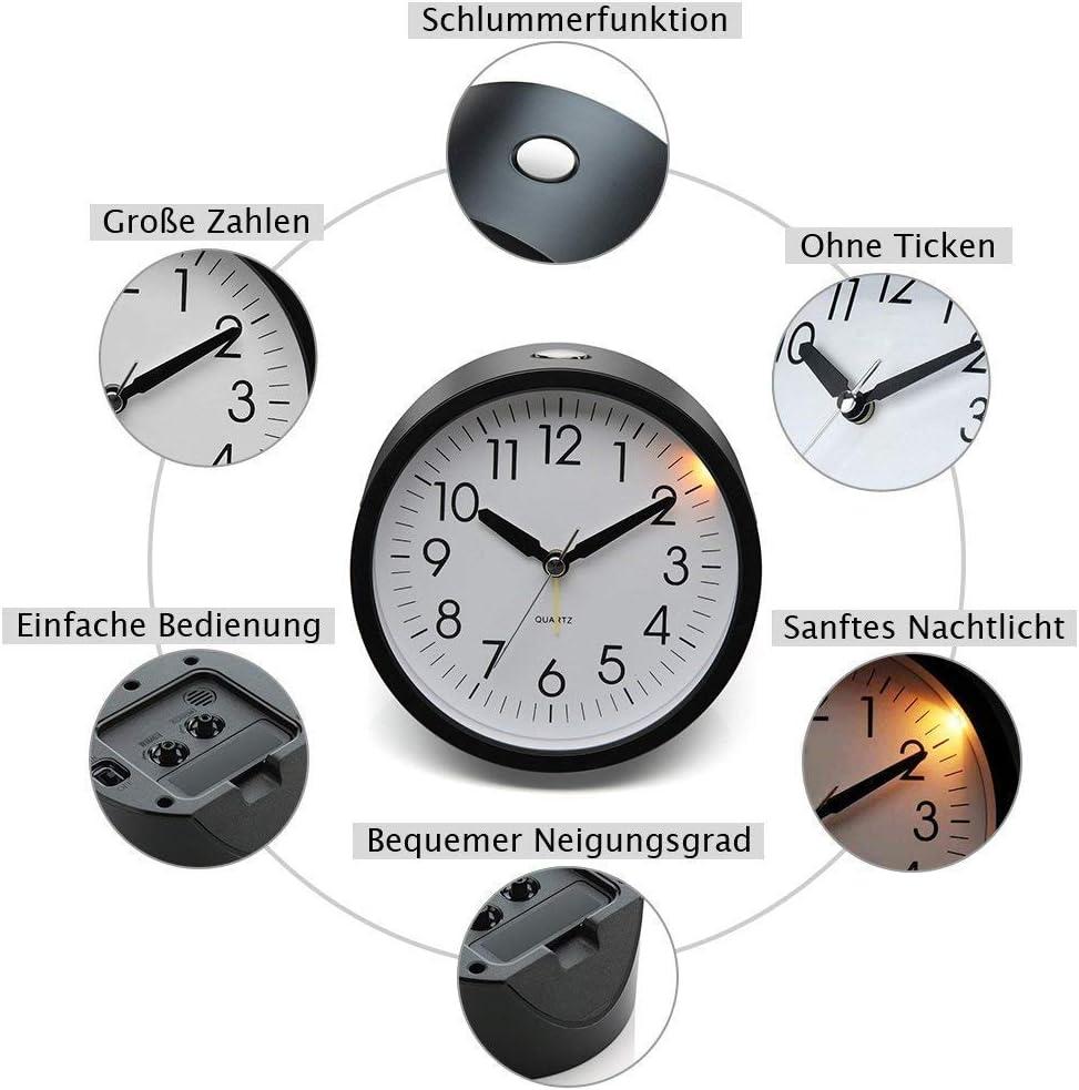 sans Tic-tac Silencieux Eachui R/éveil /à Quartz 10cm Alarme Analogique avec Lumi/ère Horloge de Table avec Fonction Somme Puissant Alarme Montante /à Pile