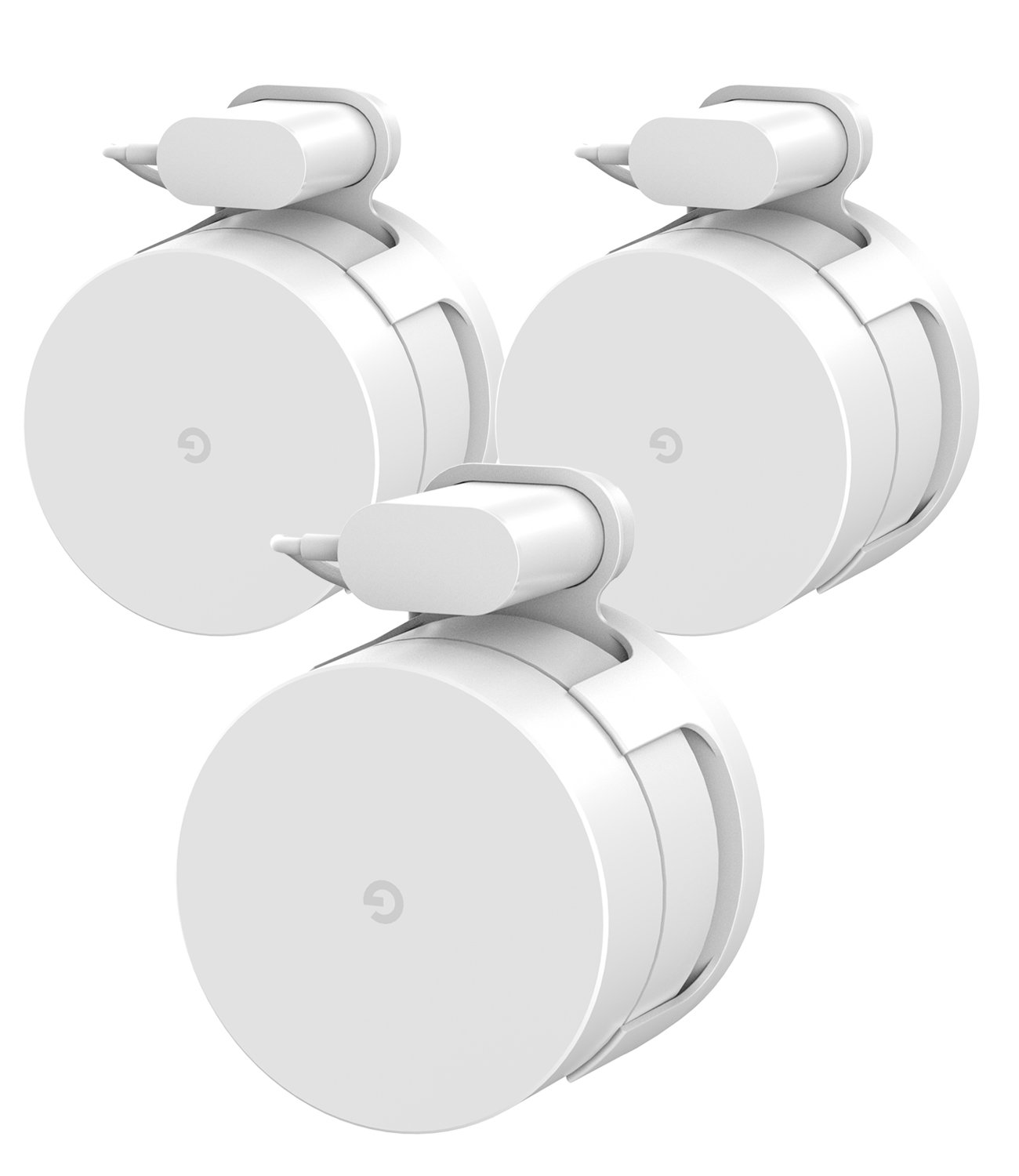 Google WiFi Wall Mount Bracket Holder, Basstop Simplest Bracket Stand for Google WiFi Router and Beacons (No Messy Screws) (White (3 Pack))