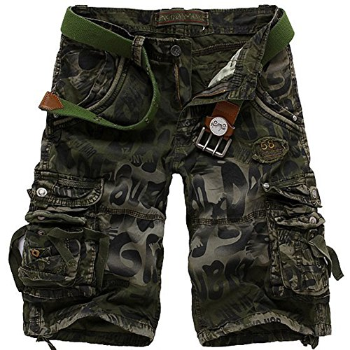 AbelWay Men's Cotton Camo Multi Pockets Outdoor Wear Casual Twill Camouflage Cargo Shorts(Army ()
