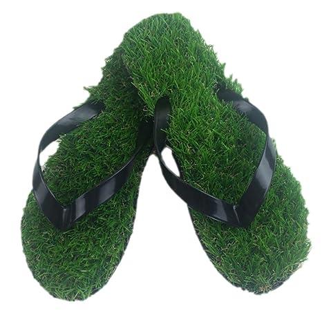 b2e795a6c SHANGXIAN Unisex Imitation lawn Flip Flops Beach Sandals Lightweight EVA  Sole Comfort Thongs