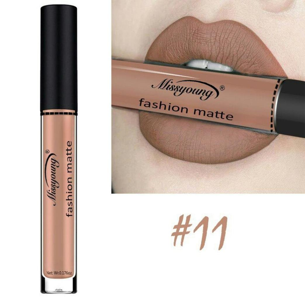 Women Cosmetics Matte Lip Gloss & Metallic Lip brillant Moisturizing Long-lasting Luster Lipstick (Miss young 11)