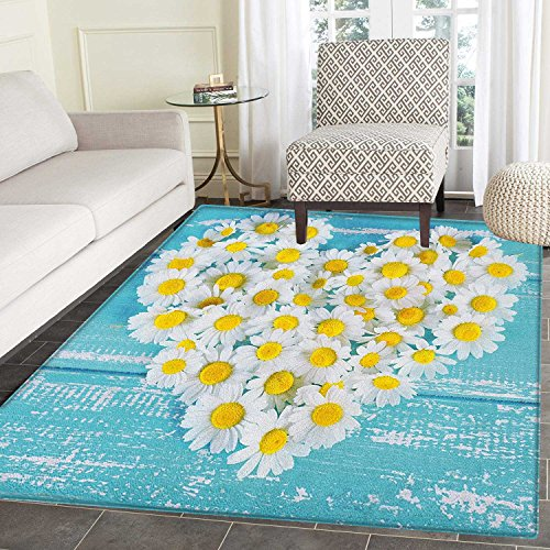 Daisy Flower Rug - Yellow and Blue Rugs for Bedroom Heart Shaped Daisy Flowers Romantic Love Valentines Chamomile Blossoms Circle Rugs for Living Room 4'x6' Sky Blue White