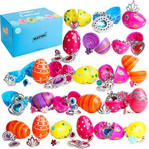 (WATINC 24Pcs Stuffed Easter Eggs with Princess Pretend Jewelry Toys Inside, Colorful Surprise Plastic Eggs Set, Toy Filled Multicolor Easter Egg,Easter Basket Stuff,Easter Party Gifts for Little)