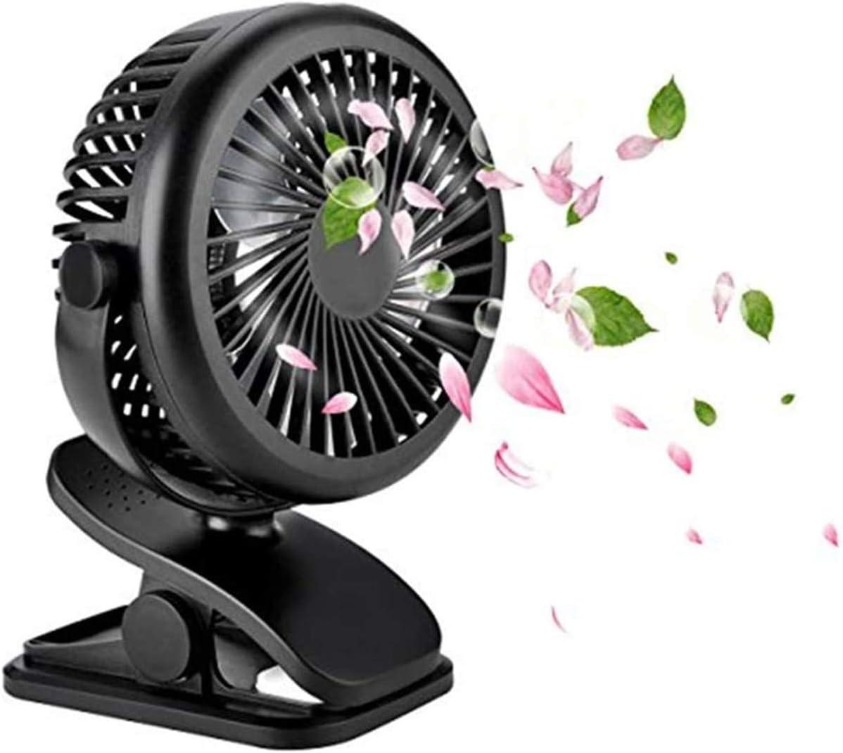 WEIGE Mini USB Fan,Portable Clip Stroller Fan, Battery Operated Clip on Mini Desk Fan (Black)